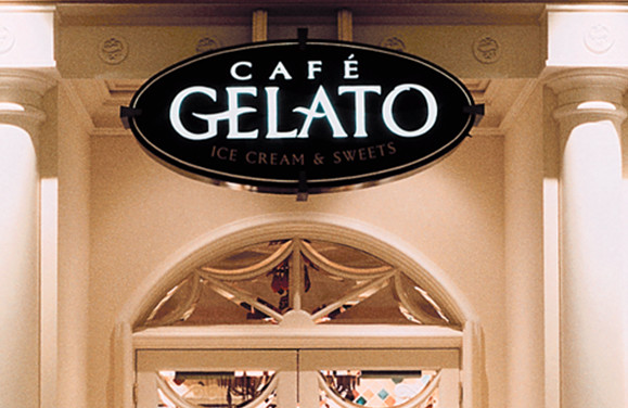 Bellagio Cafe Gelatio Logo and Signage