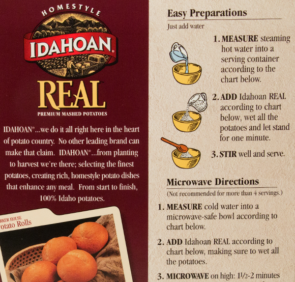 Idahoan Packaging Back Panel