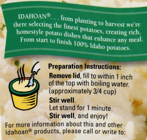 Idahoan Packaging Back Panel