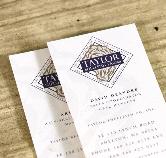 Taylor Shellfish Business Cards