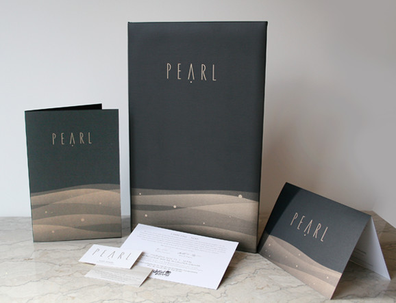 Pearl restaurant Collateral | Menus, Business Card, Drink List, Comment Cardss